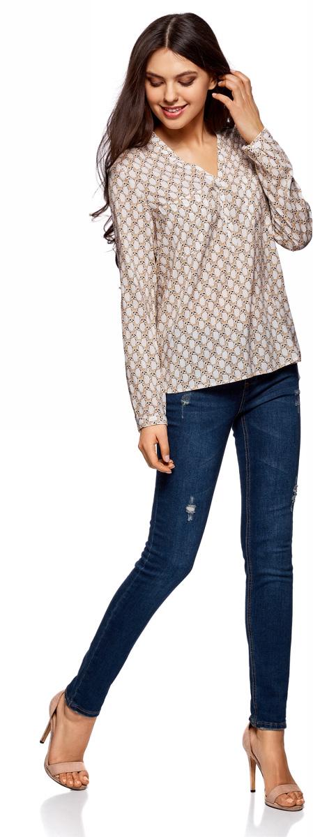 Блузка женская oodji Ultra, цвет: белый, бежевый. 11411049-1/24681/1233K. Размер 42-170 (48-170)11411049-1/24681/1233KСтильная женская блузка, выполненная из 100% вискозы, отлично дополнит ваш гардероб. Модель с длинными рукавами и V-образным вырезом горловины застегивается сверху на пуговицы. Блузка дополнена нагрудными карманами.