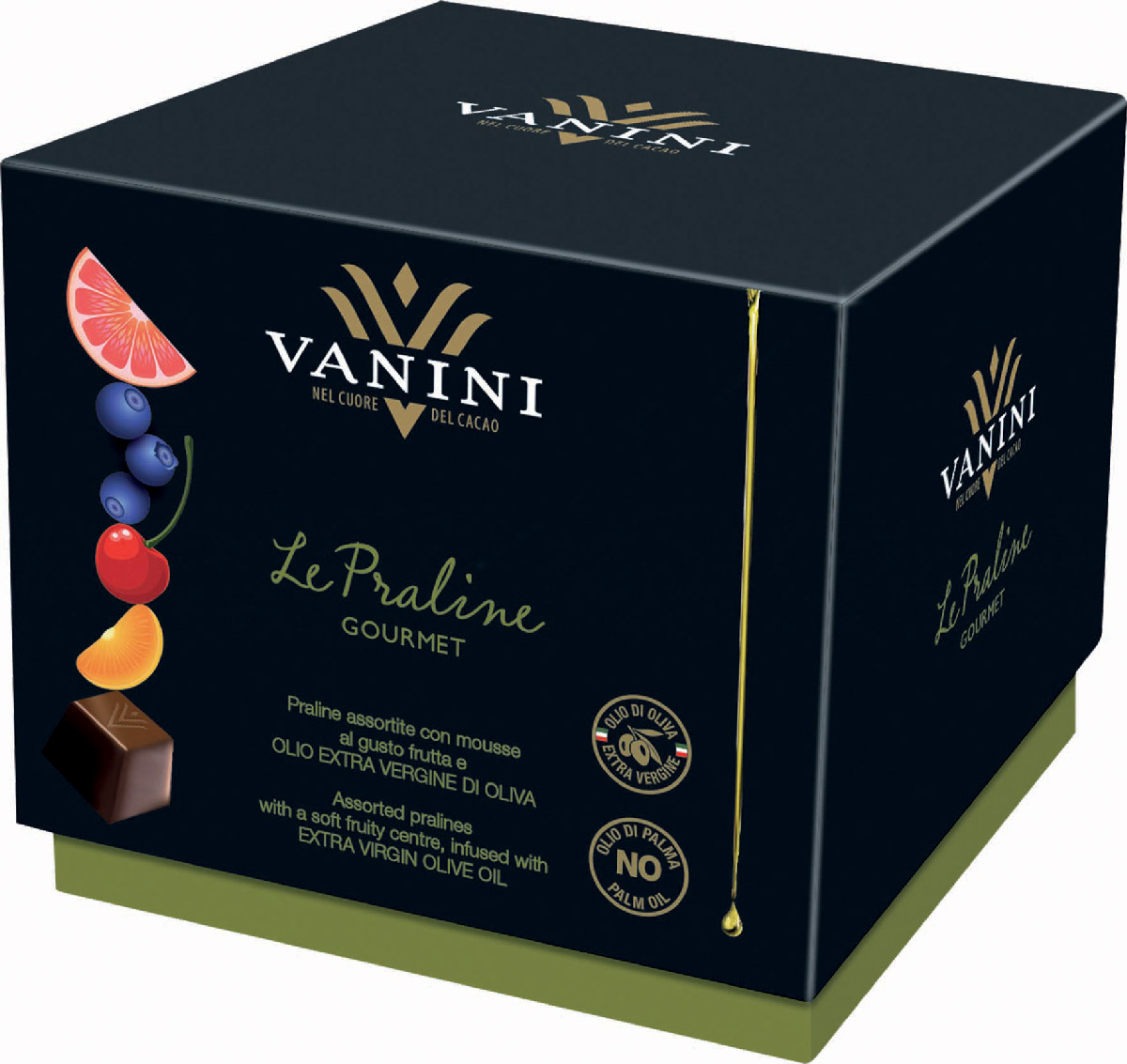 Icam Vanini Пралине Гурме с фруктовой начинкой на масле из отборных оливок 56% какао, 131 г полотенца банные dream time набор махровых полотенец 34 34 см