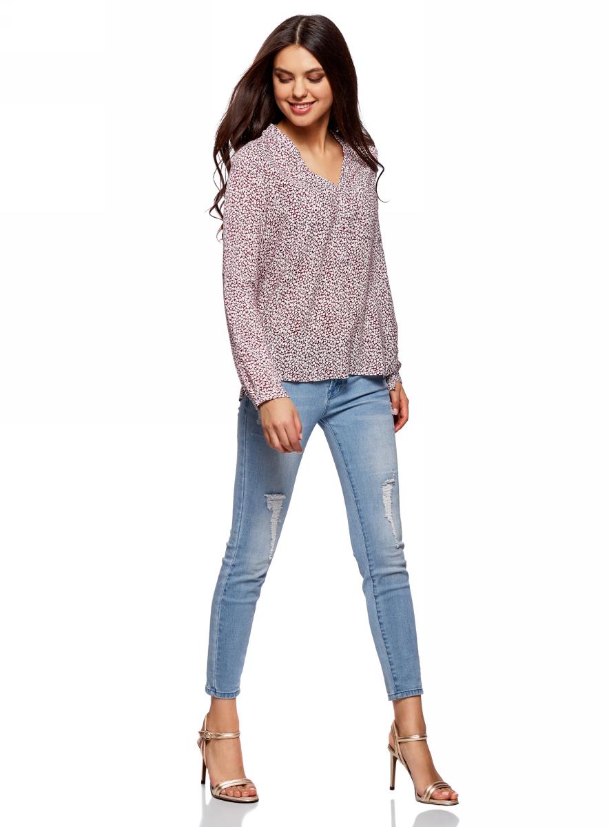 Купить Блузка женская oodji Ultra, цвет: бордовый, белый, цветы. 11411049-1/24681/4910F. Размер 34-170 (40-170)
