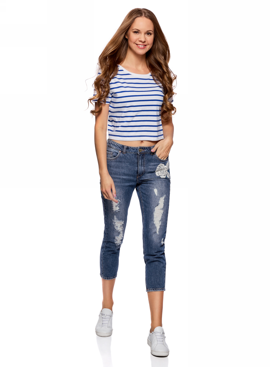 Джинсы женские oodji Ultra, цвет: темно-синий джинс. 12105108/46654/7900W. Размер 25 (40) джинсы женские oodji ultra цвет темно синий джинс 12106146 46787 7900w размер 26 32 42 32