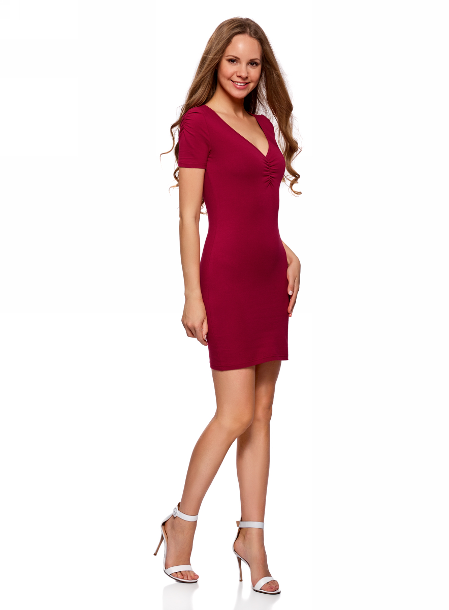 Платье oodji Ultra, цвет: бордовый. 14001082B/47490/4900N. Размер XXS (40) болеро oodji ultra цвет красный 14607001 1 24438 4500n размер xxs 40