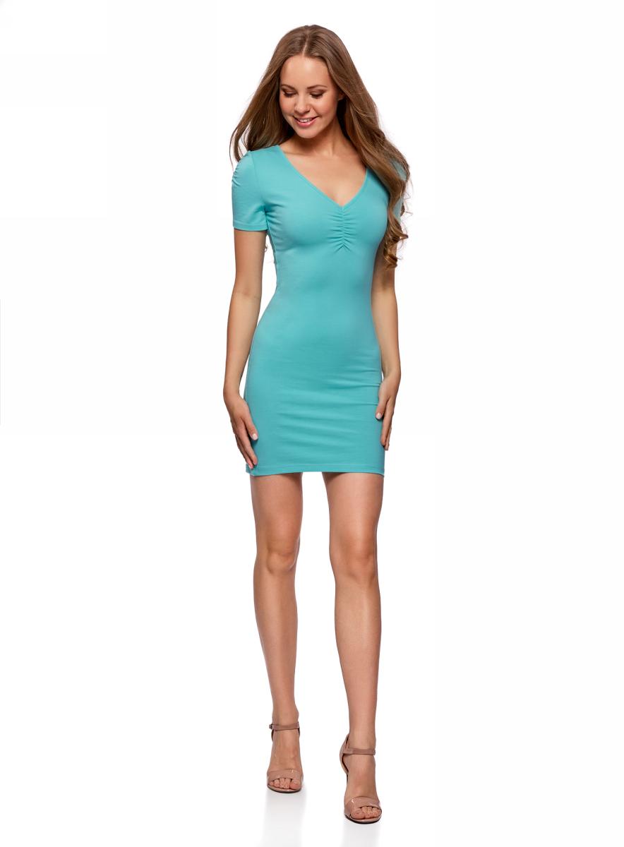 Платье oodji Ultra, цвет: ментоловый. 14001082B/47490/6500N. Размер S (44) пуловеры oodji пуловер