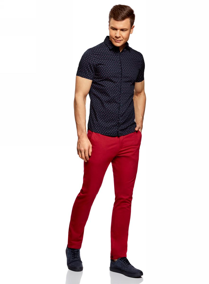 Рубашка мужская oodji Lab, цвет: темно-синий, красный. 3L410107M/39312N/7945G. Размер XXL-182 (58/60-182)3L410107M/39312N/7945GМужская рубашка от oodji выполнена из натурального хлопка. Модель с короткими рукавами застегивается на пуговицы.