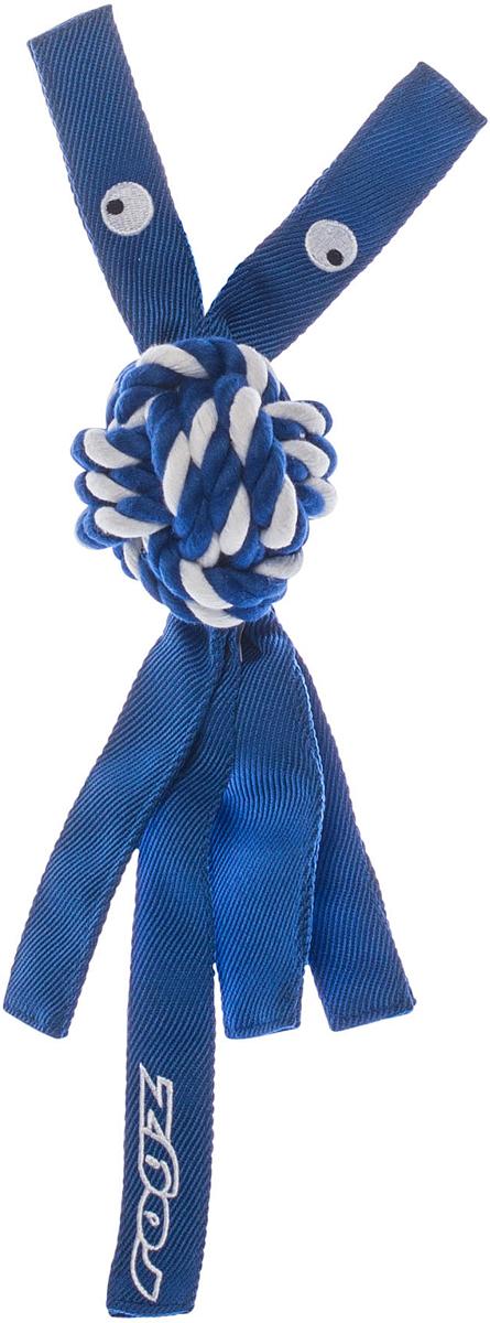 Игрушка для собак Rogz CowBoyz, цвет: синий, 7,8 х 40 смKN05BК пищалке, находящейся внутри игрушки Rogz CowBoyz, не останется равнодушной ни одна собака, а прочные и крепкие канаты обеспечат достойную тренировку жевательных мышц!Игрушка типа принеси и А ну-ка отними.Игрушка чистит зубы.