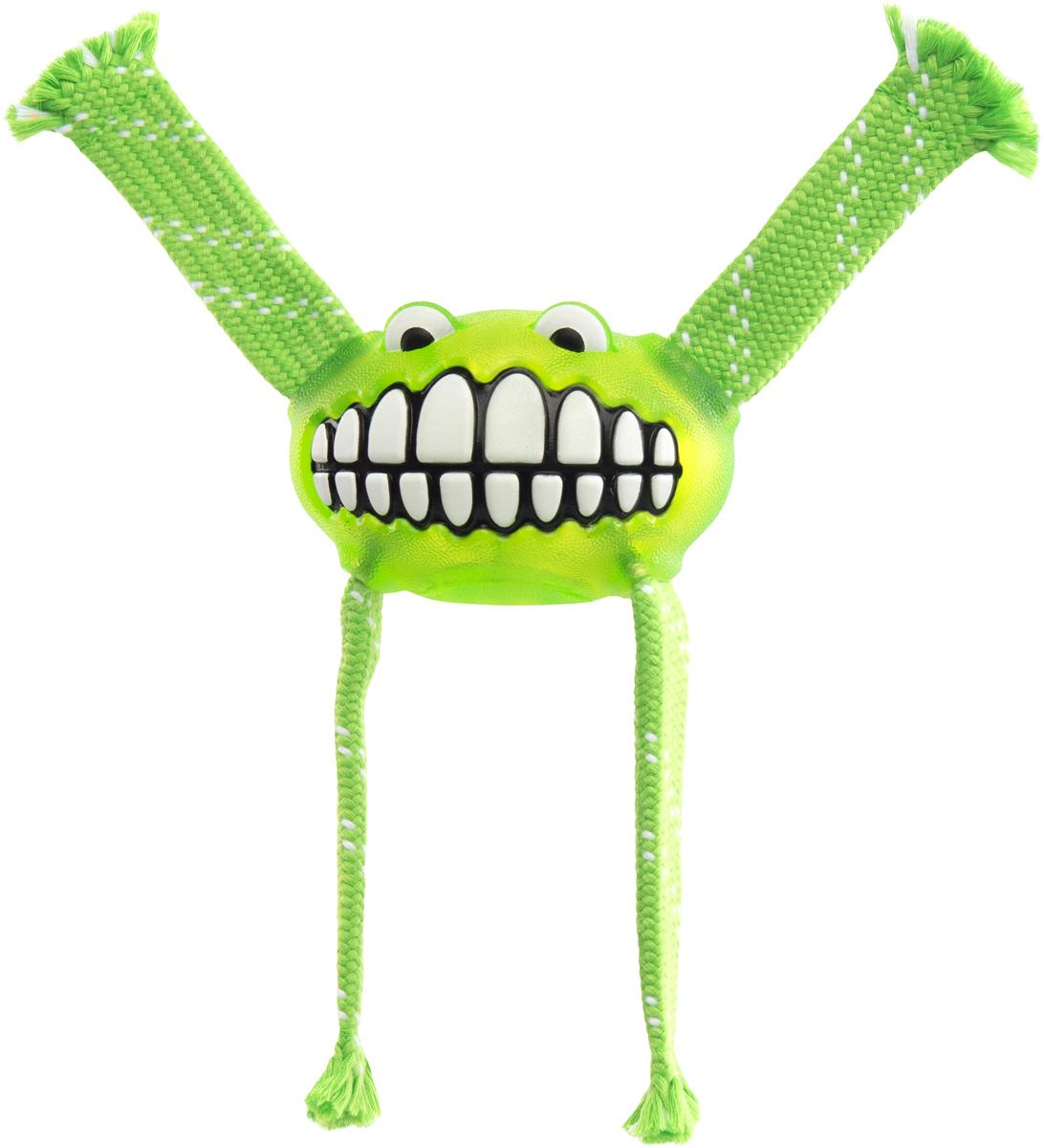 Игрушка для собак Rogz Flossy Grinz. Зубы, цвет: лайм, длина 21 см игрушка для собак rogz yumz косточка с отверстием для лакомства цвет лайм длина 11 5 см