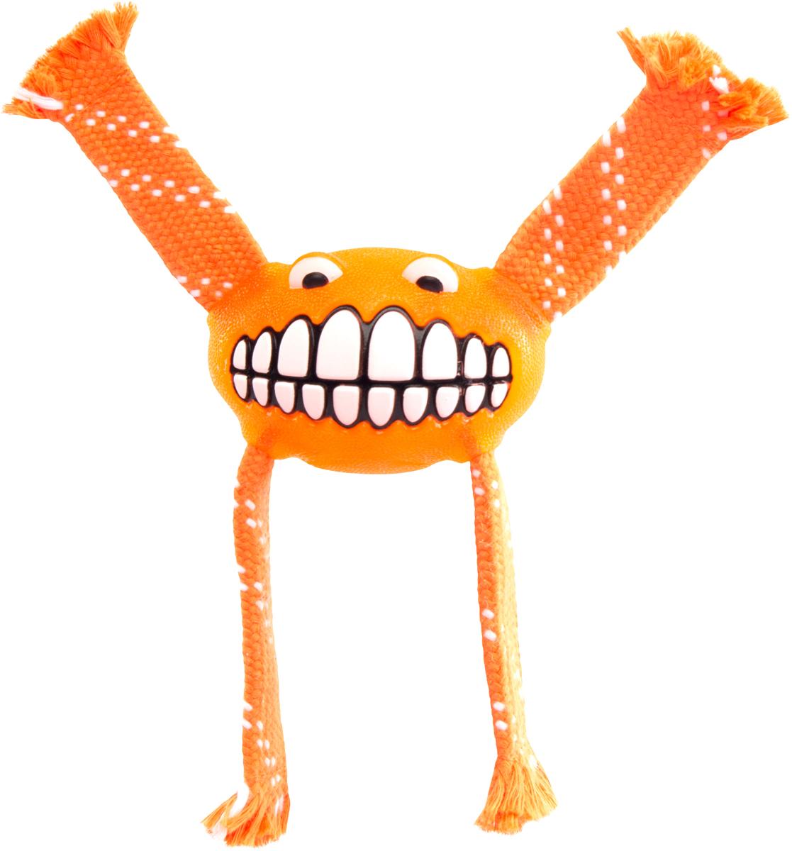 Игрушка для собак Rogz Flossy Grinz. Зубы, цвет: оранжевый, длина 16,5 см игрушка для собак rogz yumz косточка с отверстием для лакомства цвет лайм длина 11 5 см