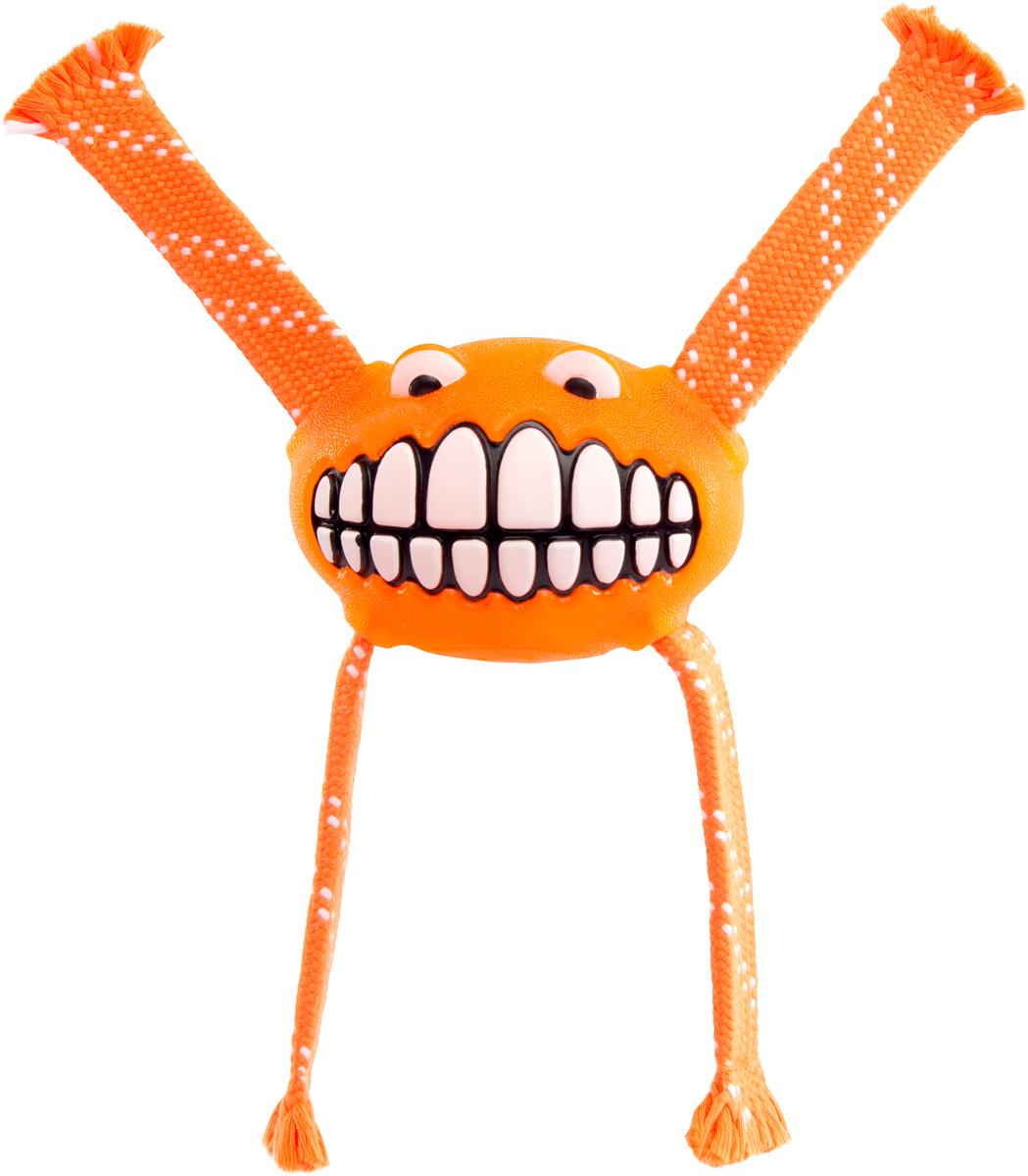 Игрушка для собак Rogz  Flossy Grinz. Зубы , цвет: оранжевый, длина 24 см - Игрушки
