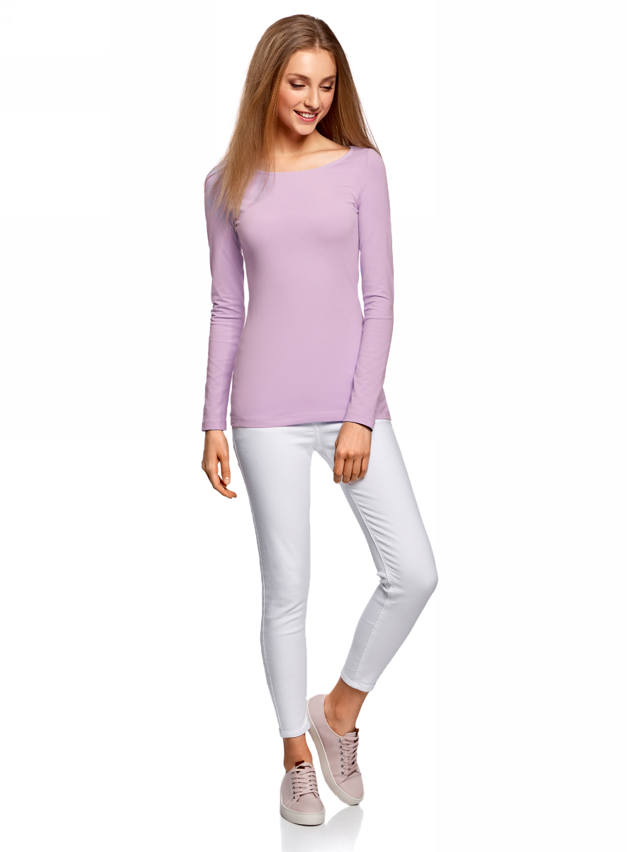 Лонгслив женский oodji Collection, цвет: сиреневый. 24201007B/46147/8000N. Размер M (46) пуловеры oodji пуловер