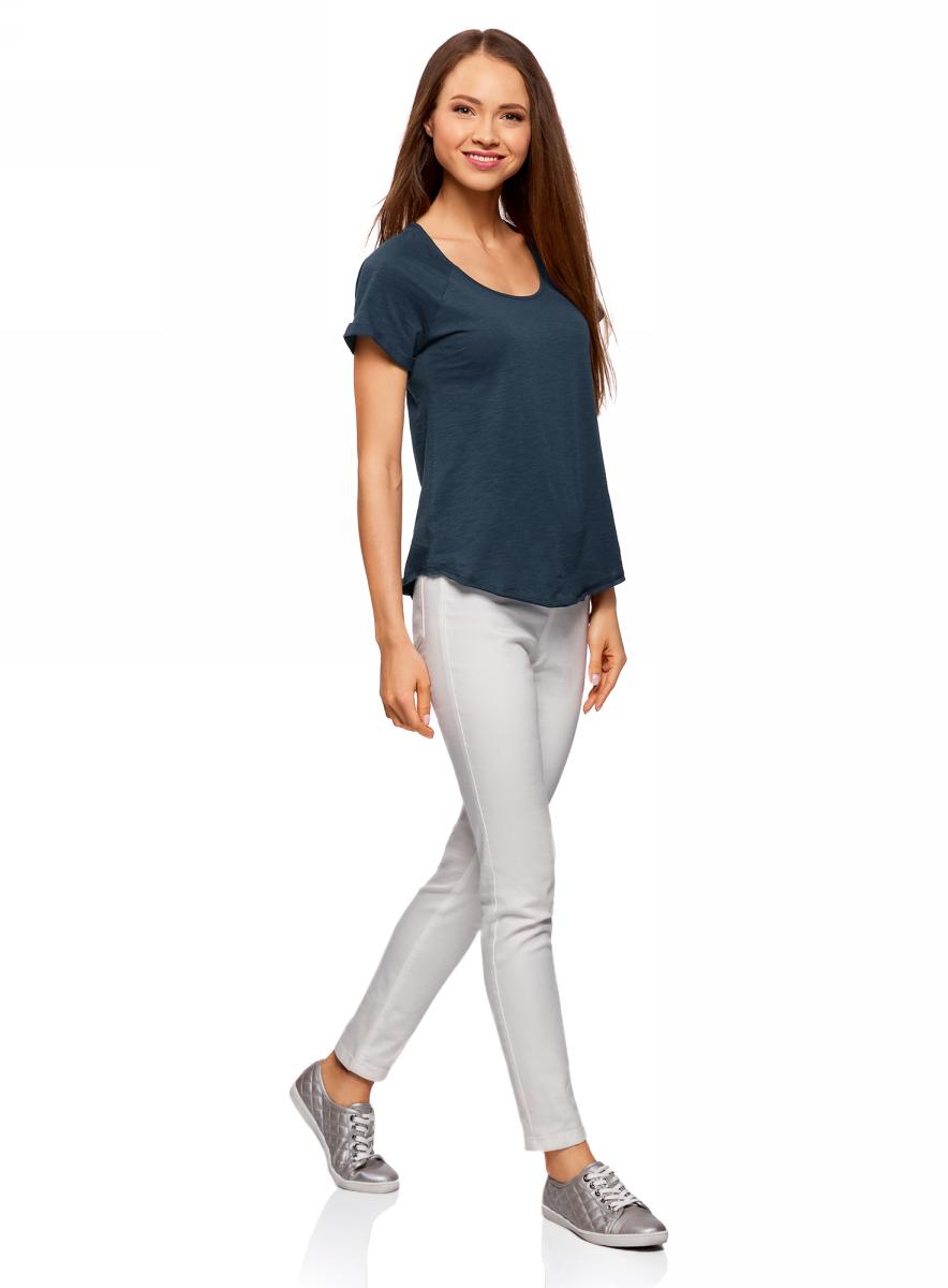 Футболка женская oodji Ultra, цвет: темно-синий. 14707004-3/45518/7900N. Размер L (48)14707004-3/45518/7900NЖенская футболка от oodji выполнена из натурального хлопка. Модель с короткими рукавами и круглым вырезом горловины имеет необработанные края.