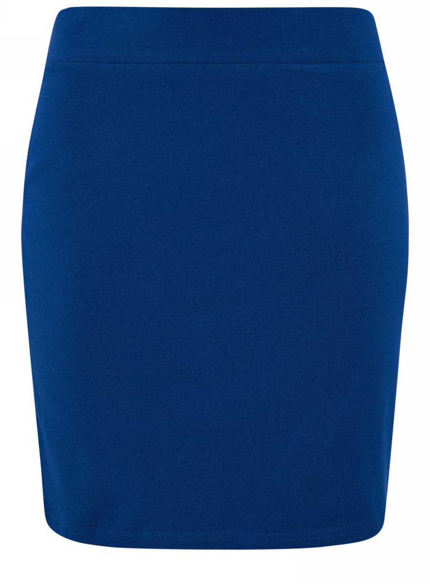 Юбка oodji Ultra, цвет: синий. 14101001B/46159/7500N. Размер XS (42)14101001B/46159/7500NТрикотажная юбка oodji Ultra прилегающего кроя выполнена из хлопка с добавлением полиуретана. Модель мини-длины с поясом на широкой эластичной резинке выгодно подчеркнет достоинства фигуры.