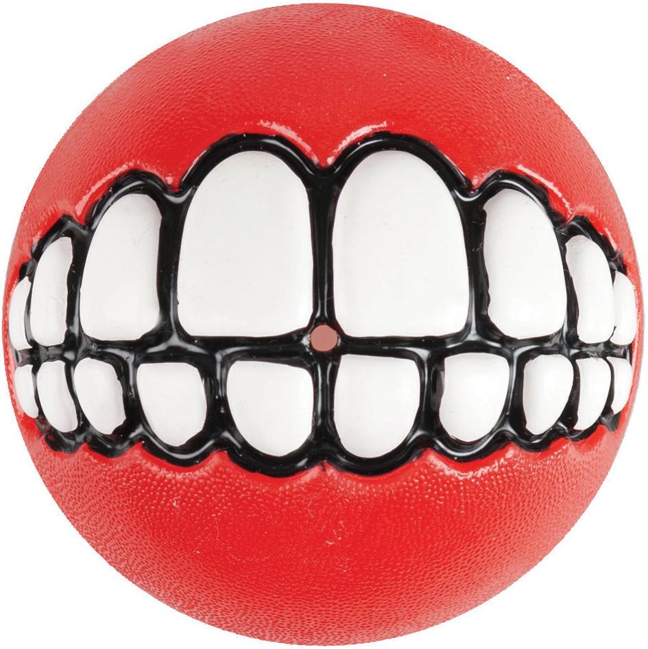 Игрушка для собак Rogz  Grinz. Зубы , с отверстием для лакомства, цвет: красный, диаметр 7,8 см - Игрушки