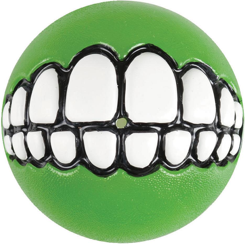 Игрушка для собак Rogz Grinz. Зубы, с отверстием для лакомства, цвет: лайм, диаметр 4,9 см игрушка для собак rogz yumz косточка с отверстием для лакомства цвет лайм длина 11 5 см