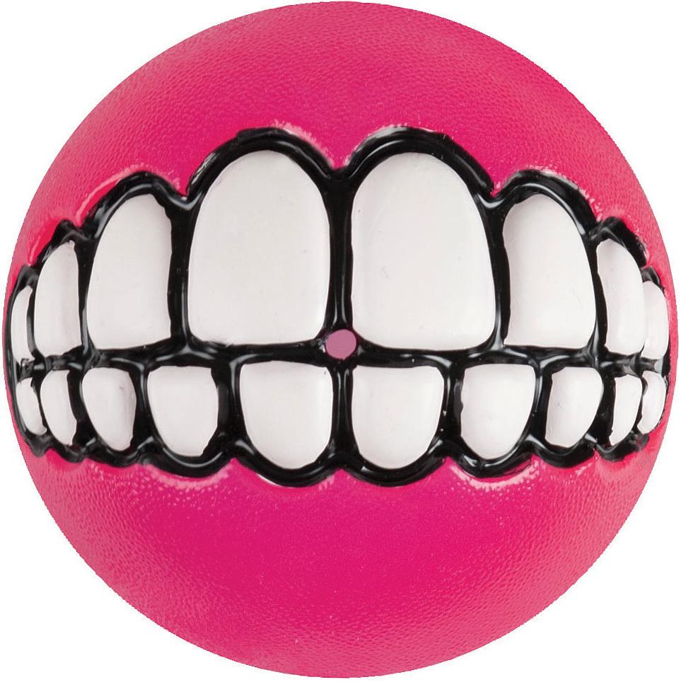 Игрушка для собак Rogz  Grinz. Зубы , с отверстием для лакомства, цвет: розовый, диаметр 7,8 см - Игрушки