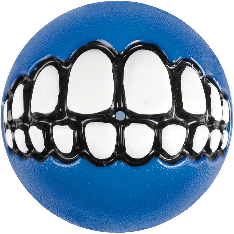 Игрушка для собак Rogz Grinz. Зубы, с отверстием для лакомства, цвет: синий, диаметр 4,9 смGR01BЛегендарный мяч Rogz Grinz. Зубы поднимет настроение каждому!Игрушка со смещенным центром тяжести устроена так, что собака всегда будет поднимать ее вверх зубами.Есть отверстие для лакомства.Мяч отлично подпрыгивает при играх.Изготовлено из особого термоэластопласта Sebs, обеспечивающего великолепную плавучесть в воде.