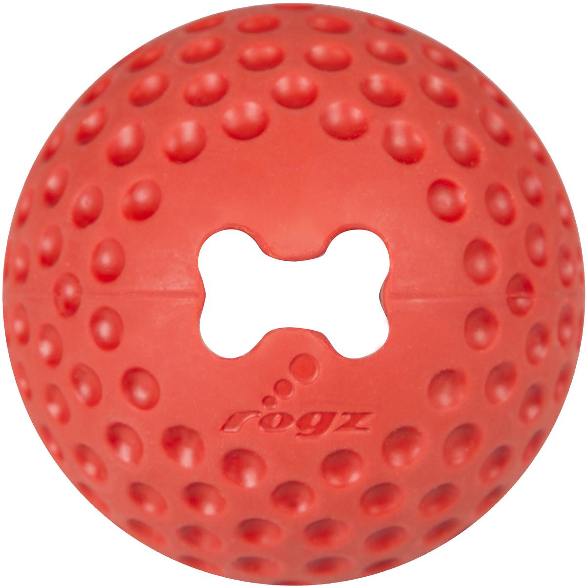 Игрушка для собак Rogz Gumz, с отверстием для лакомства, цвет: красный, диаметр 4,9 смGU01CИгрушка для собак Rogz Gumz тренирует жевательные мышцы и массирует десны собаке. Отлично подходит для дрессировки, так как есть отверстие для лакомства.Отлично подпрыгивает при играх.Занимательная игрушка выдерживает долгое жевание и разгрызание. Материал изделия: 85 % натуральной резины, 15 % синтетической резины. Не токсичен.