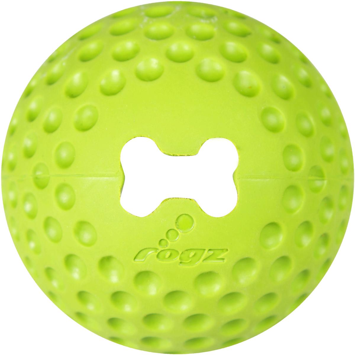 Игрушка для собак Rogz Gumz, с отверстием для лакомства, цвет: лайм, диаметр 4,9 см игрушка для собак rogz yumz косточка с отверстием для лакомства цвет лайм длина 11 5 см