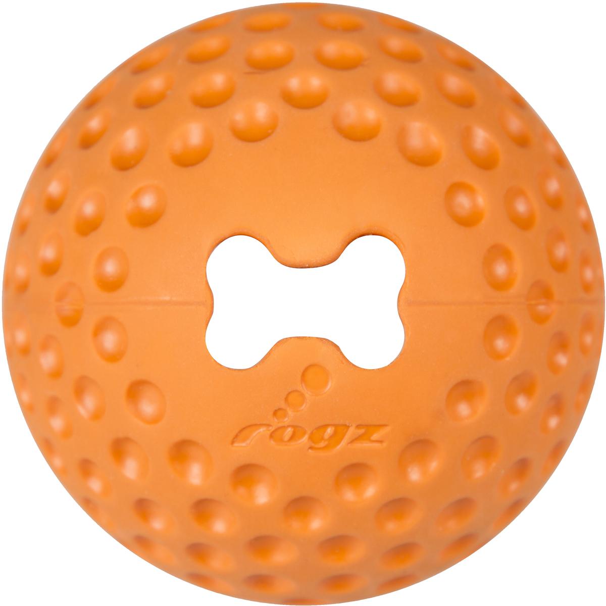 Игрушка для собак Rogz Gumz, с отверстием для лакомства, цвет: оранжевый, диаметр 7,8 см джей ви j w игрушка для лакомства большая пирамидки на канате для собак 1 шт