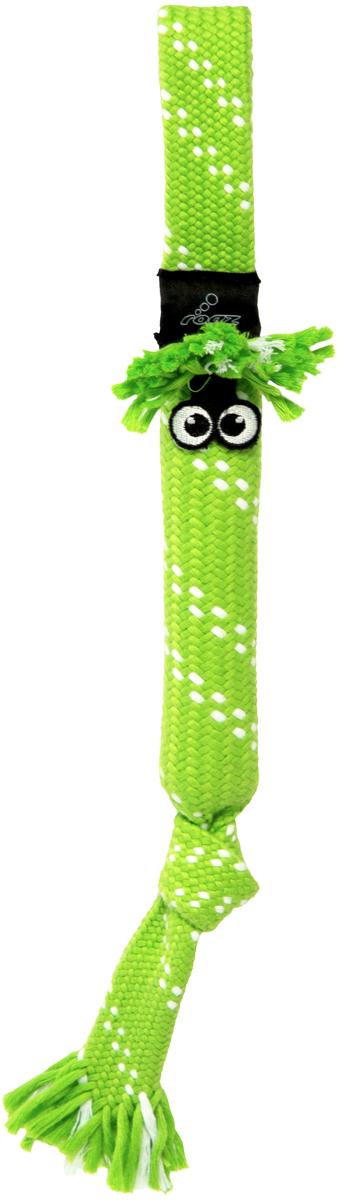 Игрушка для собак Rogz  Scrubz. Сосиска , цвет: лайм, длина 44 см
