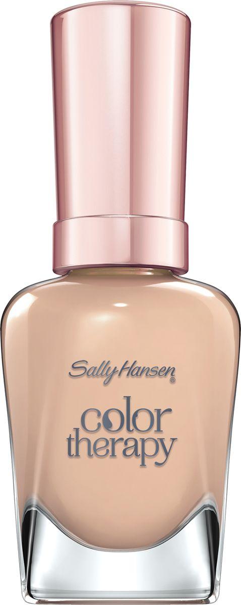 Sally Hansen Color Therapy Лак для ногтей тон 18030777273180Лаки для ногтей Color Therapy содержат запатентованную формулу из микро-частиц, которые питают ногти аргановым маслом, оказывая питательное воздействие и незамедлительное увлажнение. Лаки не требуют нанесения базового покрытия, поэтому входящее в состав аргановое масло сразу впитывается в ногтевую пластину. 9 из 10 женщин отметили значительное улучшение ногтей после использования лаков. Роскошные оттенки, доступные в различных цветовых палитрах, придают ногтям блеск, а лак носится до 10 дней, не выцветая и не трескаясь. Лаки включают в себя натуральное масло арганы, экстракт ягоды асаи и масло энотеры, которая увлажняет сухие слабые ногти. Аргановое масло имеет высокое содержание ненасыщенных жирных кислот, и витамин Е, который является антиоксидантом для кожи и ногтей. Ягода асаи богата омегой - 3, 6, 9 - основные жирные кислоты, отвечают за питание и увлажнение кожи и волос. Масло энотеры содержит в себе жирные кислоты, известные своим свойством укрепления и восстановления волос.