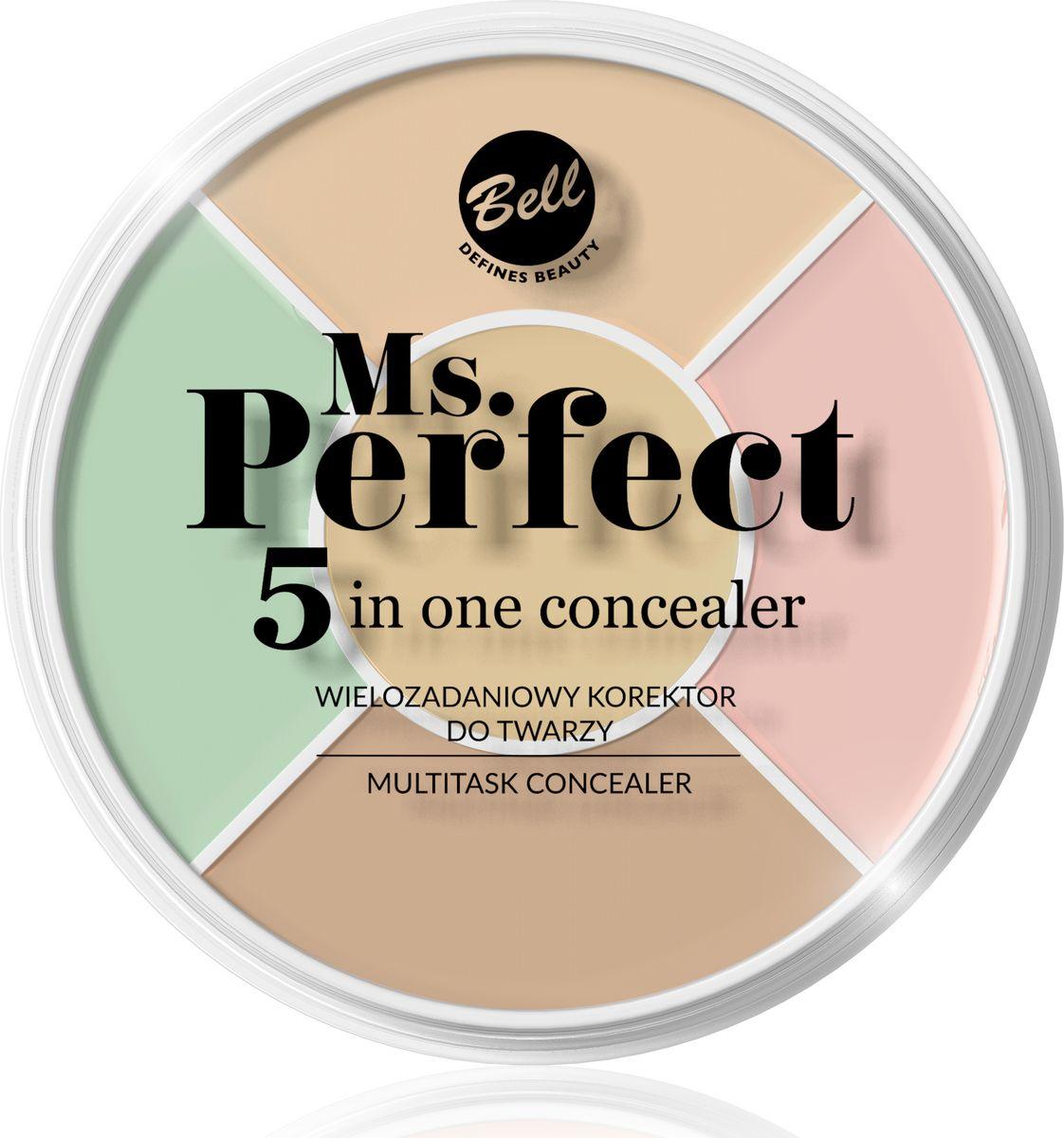 Bell Многофункциональный Корректор Для Лица Ms.perfect 5inone ConcealerBiko5P001Каждый из пяти цветов имеет другую функцию: Зеленый - скрывает покраснения и лопнувшие капилляры. Нанесите его в местах, склонных к раздражениям и покраснениям. Используйте под флюид. Розовый - осветляет, оптически разглаживает, придает эффект отдохнувших глаз. Нанесите в местах, где кожа выглядит серой и уставшей. Если у вас светлая кожа, можете скрыть ним синяки под глазами. Используйте под флюид. Бежевые оттенки - скрывают несовершенства кожи. Можете его использовать как под флюид, так и после его нанесения, если хотите получить более сильный кроющий эффект. Чтобы подобрать цвет к оттенку кожи, можете смешивать их между собой. Желтый - интенсивно осветляет и скрывает синяки под глазами. Можете также использовать его в местах, где кожа синего или фиолетового оттенка.