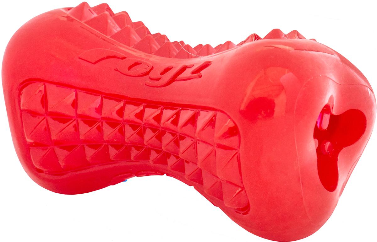 Игрушка для собак Rogz  Yumz. Косточка , с отверстием для лакомства, цвет: красный, длина 15 см - Игрушки