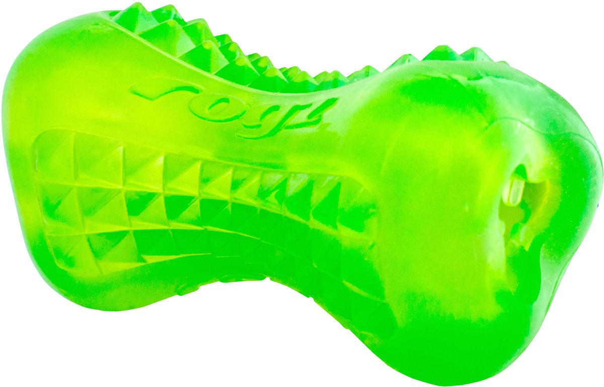 Игрушка для собак Rogz  Yumz. Косточка , с отверстием для лакомства, цвет: лайм, длина 11,5 см