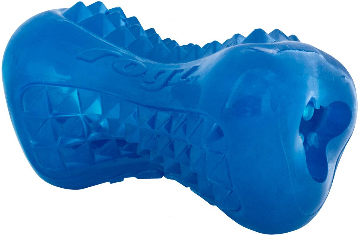 Игрушка для собак Rogz  Yumz. Косточка , с отверстием для лакомства, цвет: синий, длина 15 см - Игрушки
