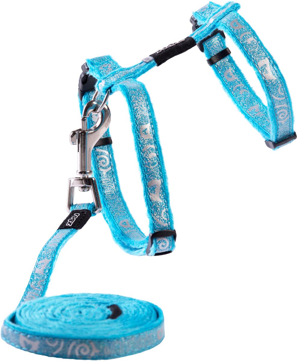Комплект для кошек Rogz SparkleCat: шлейка, поводок, цвет: голубой. Размер SCLJ52FКомплект для кошек Rogz SparkleCat состоит из шлейки и поводка. Имеется мягкая внутренняя подкладка.Специально разработанный замок легко расстегивается при натяжении, если это необходимо. Например, если ваш питомец застрял на дереве или на заборе.Уникальная система, присущая только продукции Rogz для кошек, позволяет регулировать степень легкости раскрытия замка при различных нагрузках на замок (в зависимости от размера, веса и степени активности животного).
