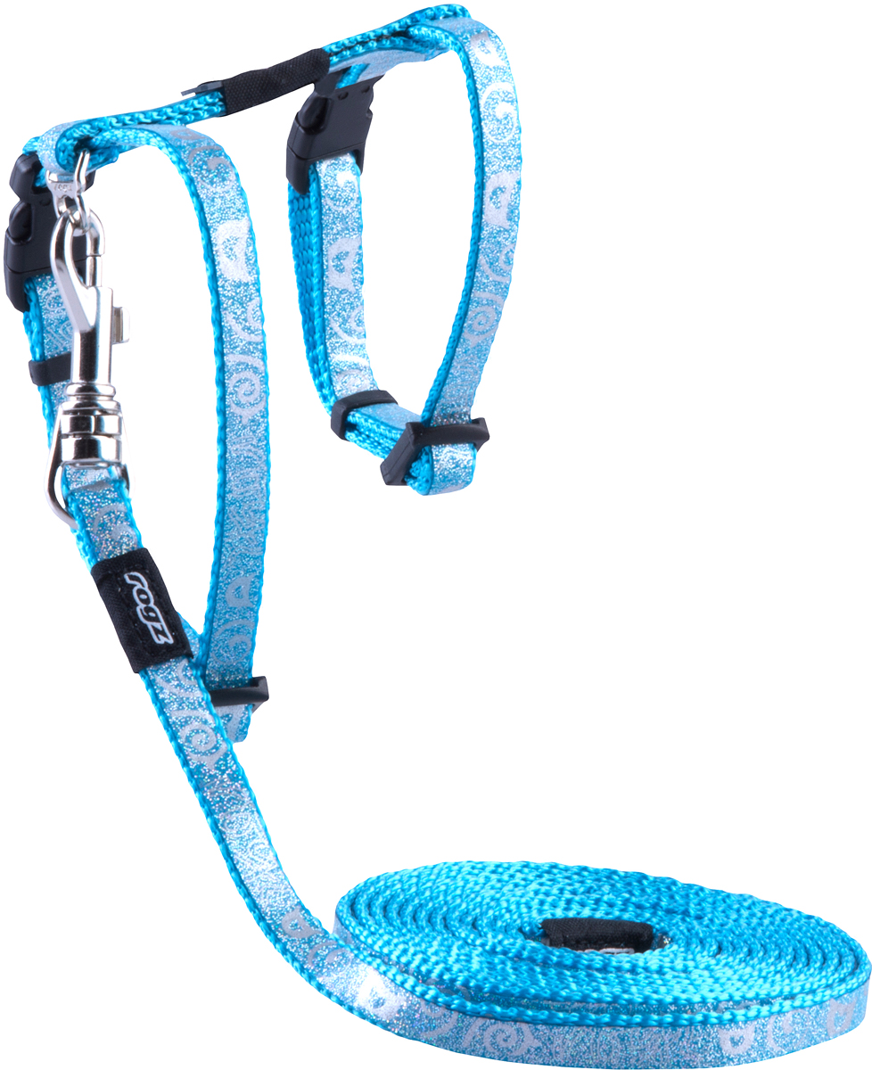 Комплект для кошек Rogz SparkleCat: шлейка, поводок, цвет: голубой. Размер XSCLJ252FКомплект для кошек Rogz SparkleCat состоит из шлейки и поводка. Имеется мягкая внутренняя подкладка.Специально разработанный замок легко расстегивается при натяжении, если это необходимо. Например, если ваш питомец застрял на дереве или на заборе.Уникальная система, присущая только продукции Rogz для кошек, позволяет регулировать степень легкости раскрытия замка при различных нагрузках на замок (в зависимости от размера, веса и степени активности животного).