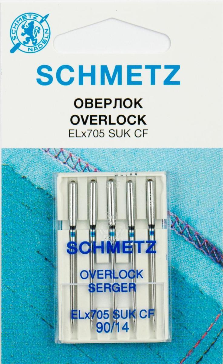 Иглы джерси Schmetz SUK CF ELx705 90, для плоскошовных машин, хром, 5 штComfort 05-15Иглы для бытовых швейных машин всех марок