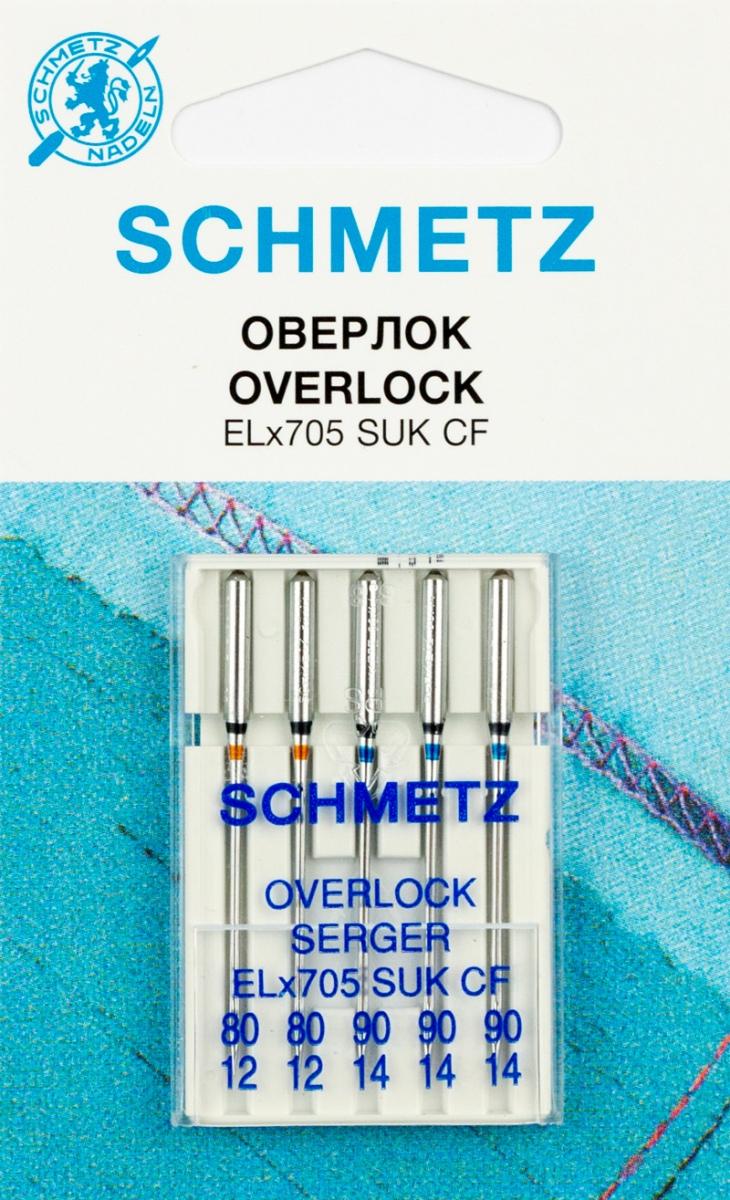 """Иглы для бытовых оверлоков """"Schmetz"""", для джерси, №80, 90, 5 шт"""