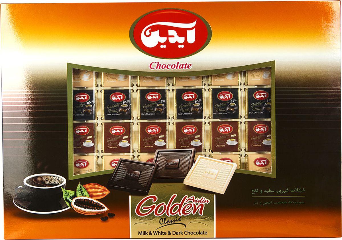Aidin конфеты ассорти из темного, молочного и белого шоколада, 290 г6260109281227Шоколад - одно из самых популярных лакомств. Компания Aidin начинает свою историю с 1945 года. Покупая продукцию Aidin, можете быть уверены в том, что в изысканных сладостях соединились вкус и наслаждение. Высокое качество продукции продиктовано строгими законами Исламской республики.