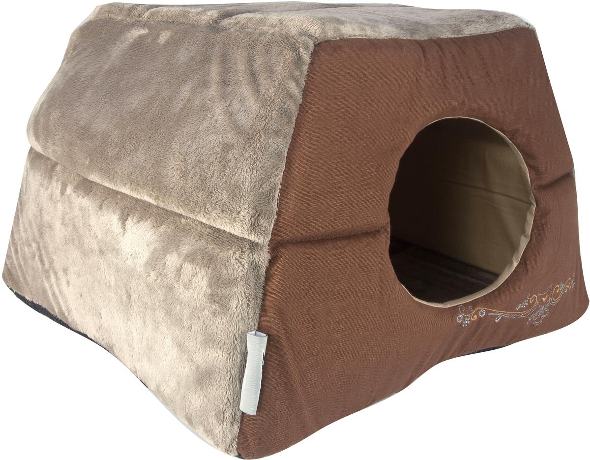 Домик-трансформер для кошек Rogz  Igloo , цвет: коричневый, 41 х 41 х 30 см - Лежаки, домики, спальные места