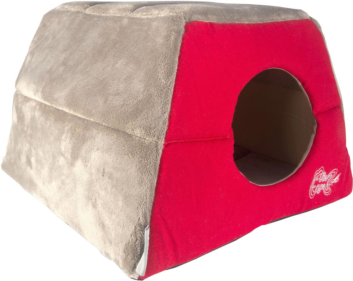 Домик-трансформер для кошек Rogz  Igloo , цвет: красный, 41 х 41 х 30 см - Лежаки, домики, спальные места