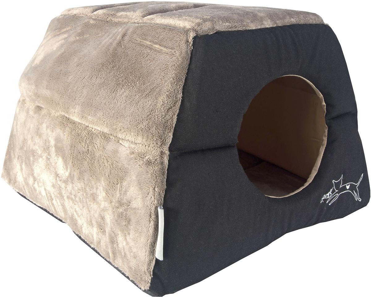 Домик-трансформер для кошек Rogz  Igloo , цвет: черный, 41 х 41 х 30 см - Лежаки, домики, спальные места
