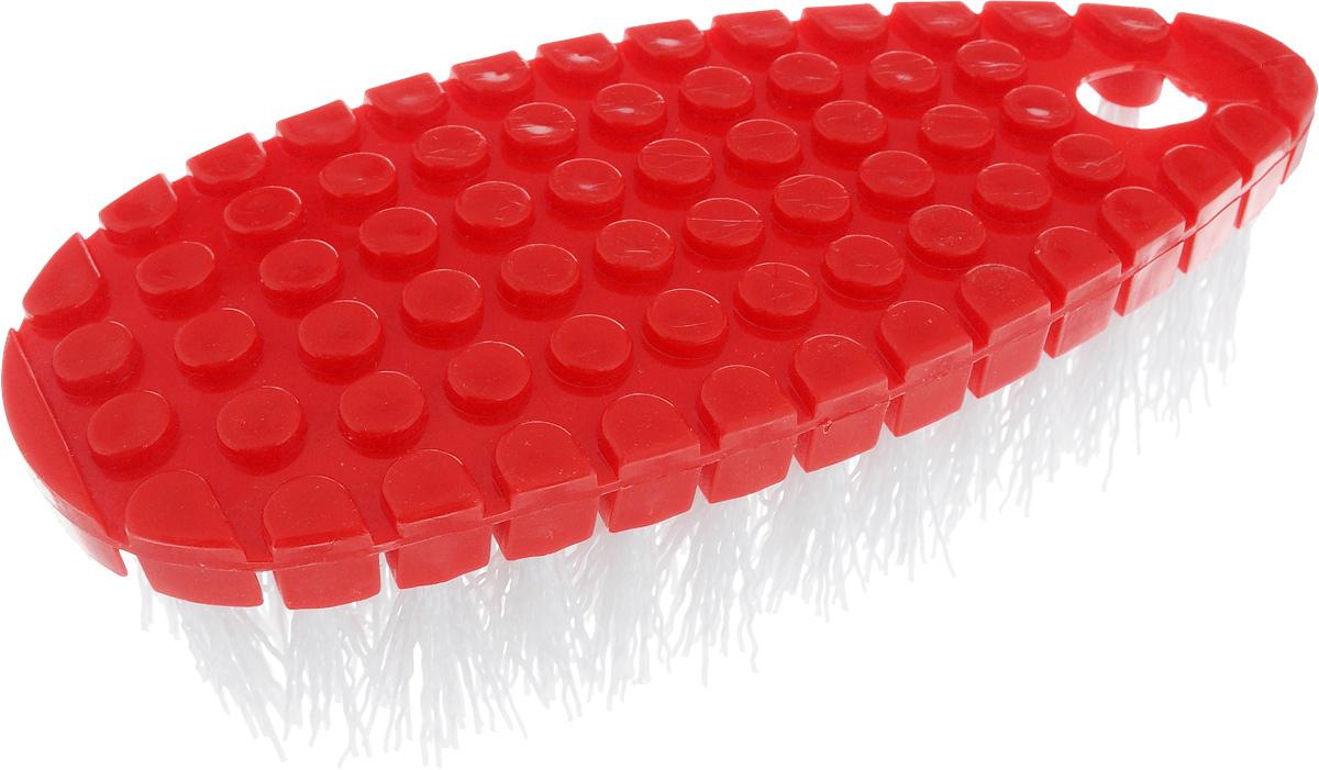 Щетка Home Queen Флекси, гибкая, цвет: красный, белый, 16 х 7 х 3,5 см корзина декоративная home queen ромашки цвет желтый 16 х 16 х 8 см
