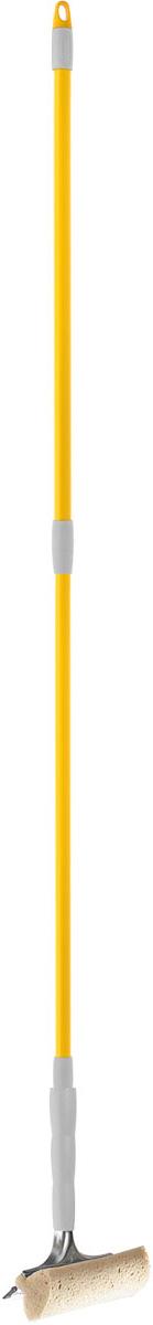 Стеклоочиститель Apex Telescopico, с телескопической ручкой, цвет: серый, желтый20670-AСтеклоочиститель Apex Telescopico, выполненный из пластмассы и стали, станет незаменимым помощником при уборке. Он стирает жидкость со стекла благодаря мягкой губке, а для полного вытирания имеется резиновая кромка. Насадка из поролона может использоваться отдельно. Стеклоочиститель имеет крепление к телескопической ручке. Длина ручки: 88-144 см.Ширина рабочей поверхности: 20 см.