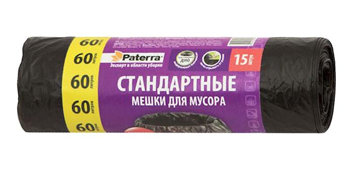 Мешки для мусора Paterra, цвет: черный, 60 л, 15 шт106-056Мешки Paterra, выполненные извысокопрочного и эластичного полиэтилена, обеспечатчистоту и гигиену в квартире. Они удобны для сбора иутилизации мусора,занимают мало места, практичны в использовании. Благодаря удобным размерам, мешки легко вкладываются в ведро.Количество: 15 шт.Размер мешка: 60 х 80 см.