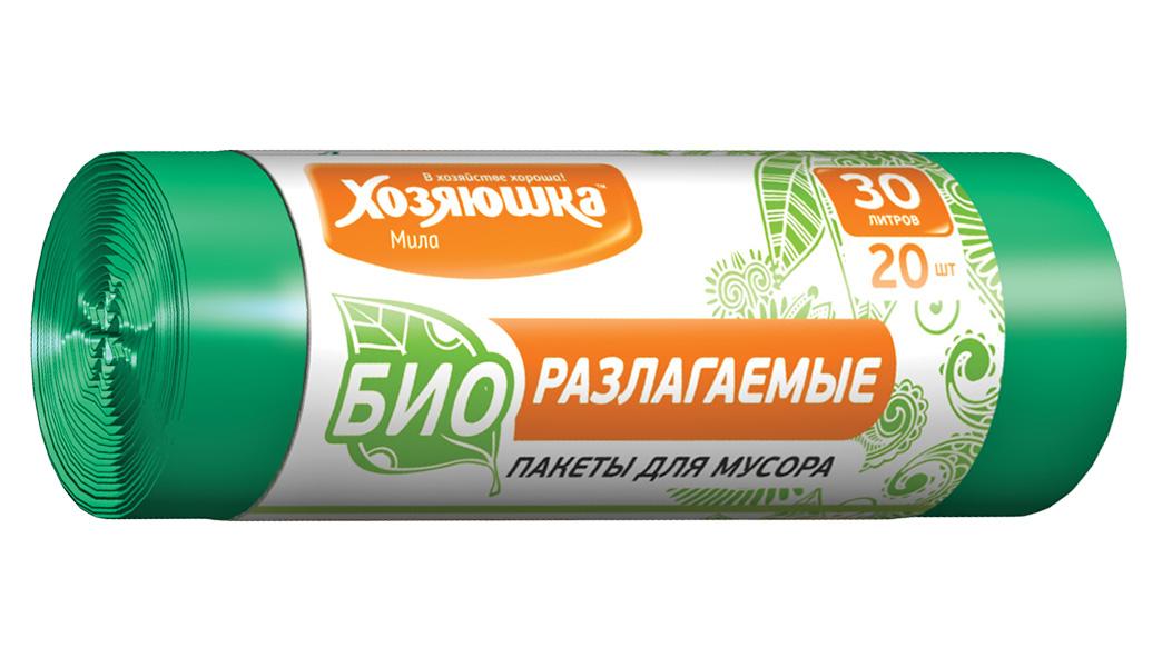 Пакеты для мусора Хозяюшка Мила, биоразлагаемые, цвет: зеленый, 30 л, 20 шт пакеты для мусора хозяюшка мила с завязками 35 л 15 шт