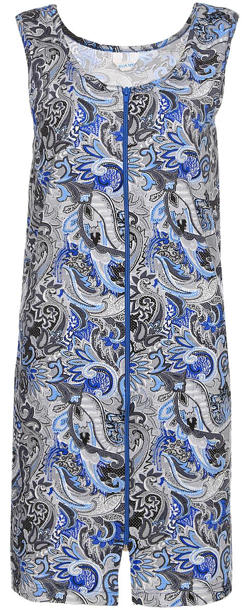 Халат женский Evateks, цвет: серый, голубой. 1004. Размер 42/44 халат женский evateks цвет синий 525 размер 66 68