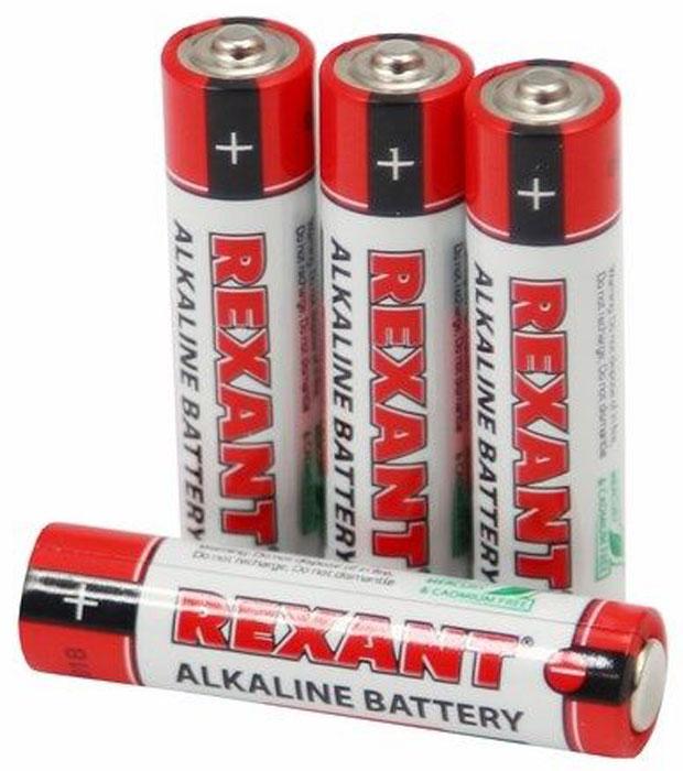 Батарейка алкалиновая Rexant AAA/LR03, 4 шт30-1012Щелочные (алкалиновые) батарейки оптимально подходят для повседневного питания множества современных бытовых приборов: электронных игрушек, фонарей, беспроводной компьютерной периферии и многого другого. Не содержат кадмия и ртути. Батарейки созданы для устройств со средним и высоким потреблением энергии. Работают в 10 раз дольше, чем обычные солевые элементы питания.Номинальное напряжение: 1,5 V.Номинальная емкость: 1200 mAh. Тип батарейки: Zn/MnO2. В комплекте - 4 батарейки.