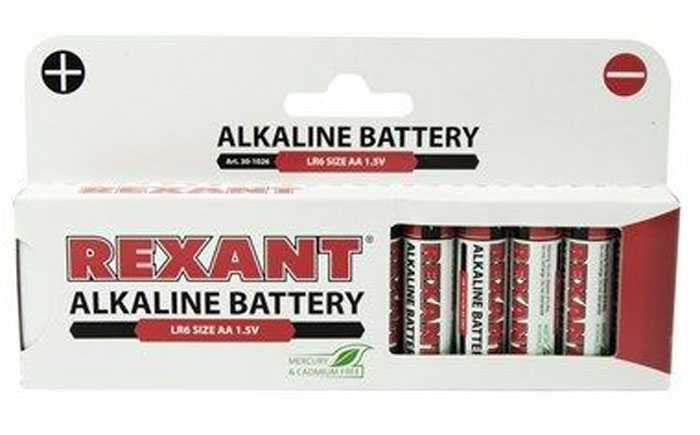Батарейка алкалиновая Rexant, тип AA (LR6), 1,5В, 12 шт30-1026Щелочные (алкалиновые) батарейки оптимально подходят для повседневного питания множества современных бытовых приборов: электронных игрушек, фонарей, беспроводной компьютерной периферии и многого другого. Не содержат кадмия и ртути. Батарейки созданы для устройств со средним и высоким потреблением энергии. Работают в 10 раз дольше, чем обычные солевые элементы питания.Номинальное напряжение: 1,5 V. В комплекте - 12 батареек.