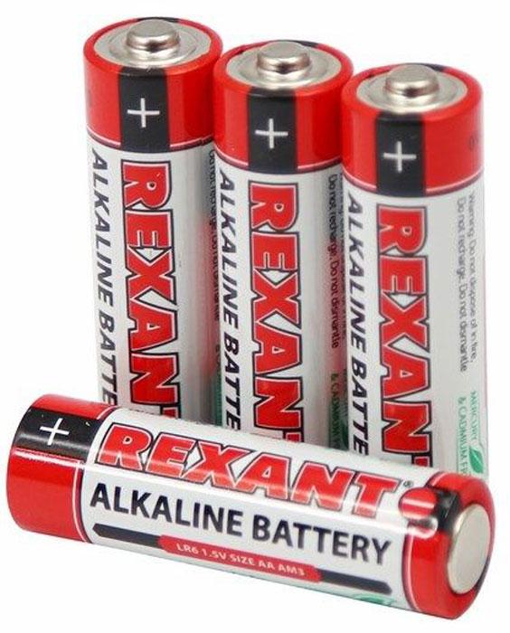 Батарейка алкалиновая Rexant, тип AA (LR6), 1,5В, 4 шт30-1027Щелочные (алкалиновые) батарейки оптимально подходят для повседневного питания множества современных бытовых приборов: электронных игрушек, фонарей, беспроводной компьютерной периферии и многого другого. Не содержат кадмия и ртути. Батарейки созданы для устройств со средним и высоким потреблением энергии. Работают в 10 раз дольше, чем обычные солевые элементы питания.Номинальное напряжение: 1,5 V. В комплекте - 4 батарейки.