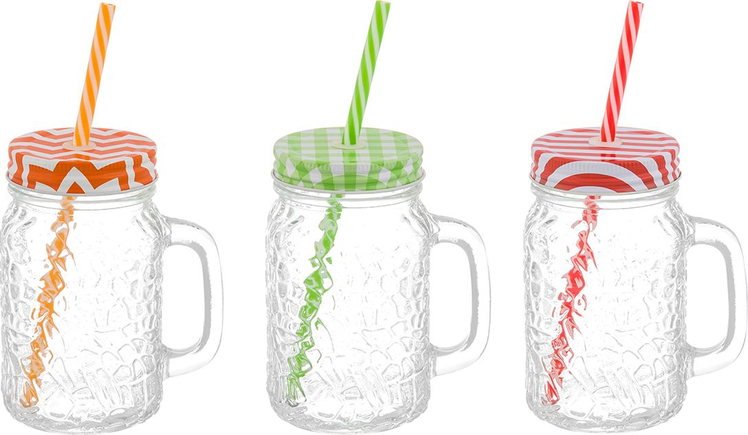 Набор кружек Elan Gallery Яркие мотивы, для глинтвейна, с ручкой, 500 мл300033Набор Elan Gallery Яркие мотивы состоит из трех стеклянных кружек с завинчивающимися крышками и трех пластиковых трубочек. Кружки идеально подходят для глинтвейна, также их можно использовать для прохладительных напитков, какао, шоколада. Набор станет отличным подарком на любой праздник, украсит и добавит неповторимый шарм любому дому.Объем кружки: 500 мл.