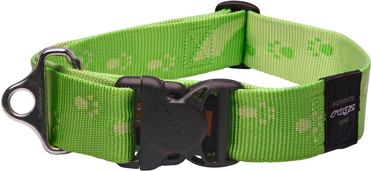 Ошейник для собак Rogz Alpinist, цвет: зеленый, ширина 4 см. Размер XXLHB29GОшейник для собак Rogz Alpinist представляет собой мягкую нейлоновую ленту, которая обладает высокой прочностью. Особое плетение полотна способствует увеличению уровня прочности и защиты. Специальная конструкция пряжки Rog Loc - очень крепкая (система Fort Knox). Замок может быть расстегнут только рукой человека. Технология распределения нагрузки позволяет снизить нагрузку на пряжки, изготовленные из титанового пластика, с помощью правильного и разумного расположения грузовых колец.Особые контурные пластиковые компоненты. Специальная округлая форма конструкции позволяет ошейнику комфортно облегать шею собаки.Выполненные специально по заказу Rogz литые кольца гальванически хромированы, что позволяет избежать коррозии и потускнения изделия.