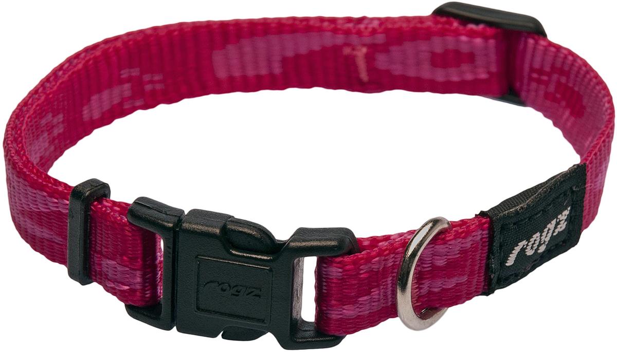 Ошейник для собак Rogz Alpinist, цвет: розовый, ширина 1,1 см. Размер SHB19DОшейник для собак Rogz Alpinist представляет собой мягкую нейлоновую ленту, которая обладает высокой прочностью. Особое плетение полотна способствует увеличению уровня прочности и защиты. Специальная конструкция пряжки Rog Loc - очень крепкая (система Fort Knox). Замок может быть расстегнут только рукой человека. Технология распределения нагрузки позволяет снизить нагрузку на пряжки, изготовленные из титанового пластика, с помощью правильного и разумного расположения грузовых колец.Особые контурные пластиковые компоненты. Специальная округлая форма конструкции позволяет ошейнику комфортно облегать шею собаки.Выполненные специально по заказу Rogz литые кольца гальванически хромированы, что позволяет избежать коррозии и потускнения изделия.