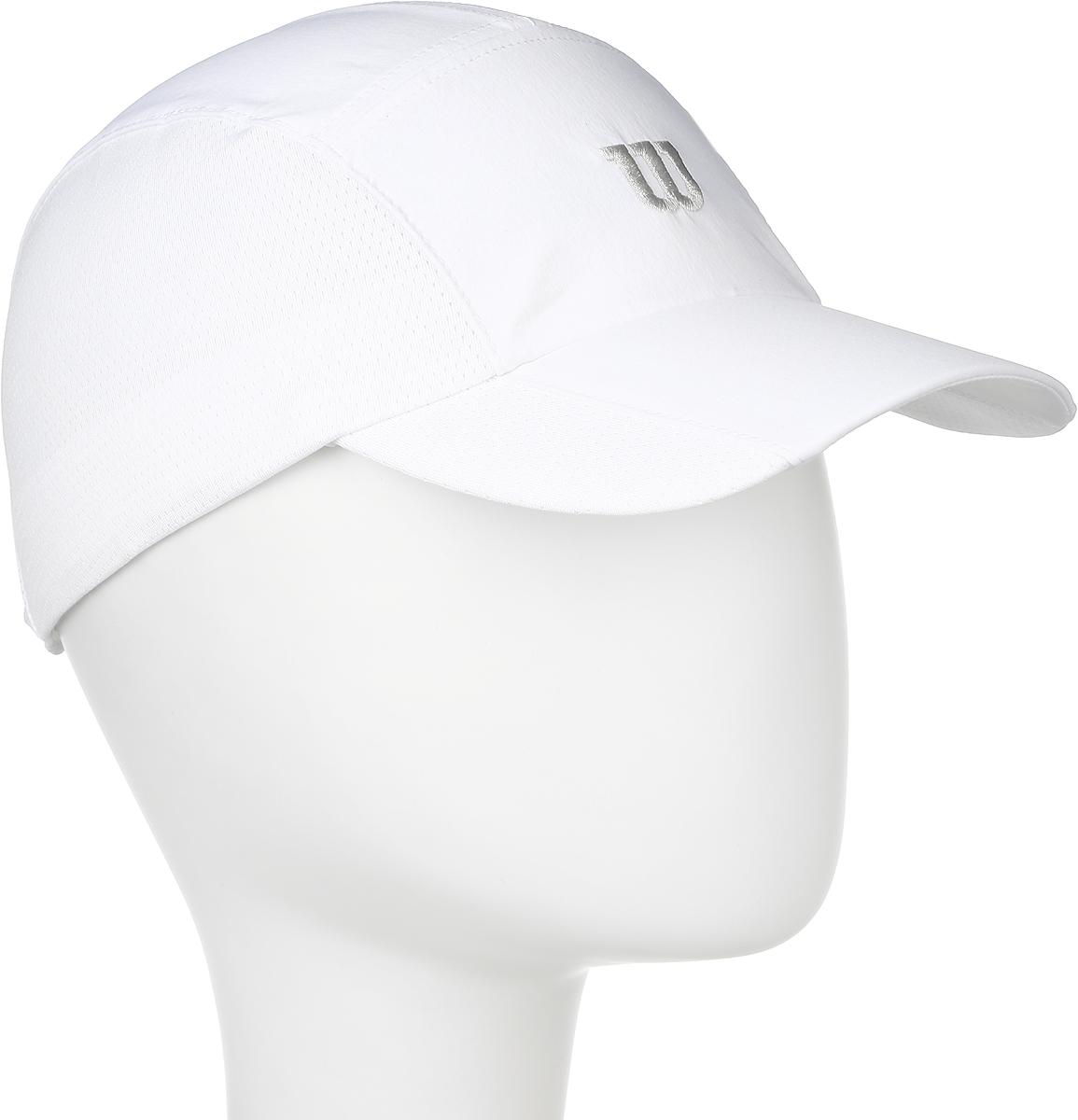 Бейсболка для тенниса Wilson Rush Stretch Woven Cap, цвет: белый. WR5004100. Размер универсальныйWR5004100Бейсболка Wilson является отличным аксессуаром для занятий спортом. Удобная и практичная, она обеспечит вам надежную защиту от неблагоприятных погодных условий. Вентиляционные отверстия и эластичный край для комфортной посадки.
