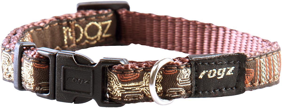 Ошейник для собак Rogz Fancy Dress, цвет: коричневый, ширина 1,1 смHB01CEОшейник для собак Rogz Fancy Dress имеет необычный дизайн. Широкая гамма потрясающе красивых орнаментов на прочной тесьме поверх нейлоновой ленты украсит вашего питомца. Специальная конструкция пряжки Rog Loc - очень крепкая (система Fort Knox). Замок может быть расстегнут только рукой человека. Технология распределения нагрузки позволяет снизить нагрузку на пряжки, изготовленные из титанового пластика, с помощью правильного и разумного расположения грузовых колец.Особые контурные пластиковые компоненты. Специальная округлая форма конструкции позволяет ошейнику комфортно облегать шею собаки. Выполненные по заказу литые кольца имеют хромирование, нанесенное гальваническим способом, что позволяет избежать коррозии и потускнения изделия.