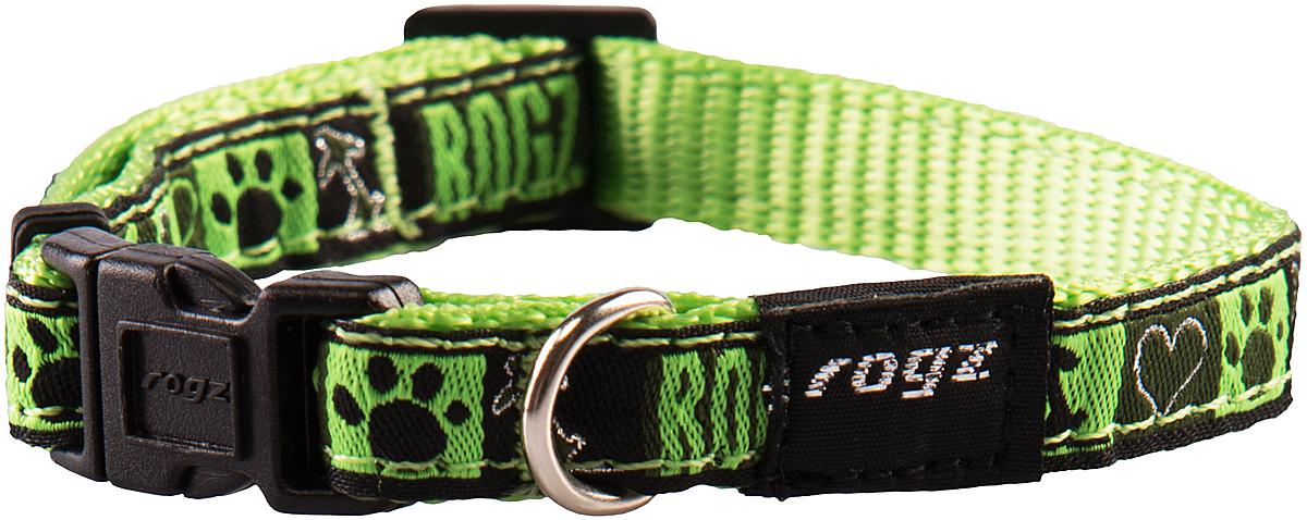 Ошейник для собак Rogz Fancy Dress, цвет: зеленый, ширина 1,1 смHB01CFОшейник для собак Rogz Fancy Dress имеет необычный дизайн. Широкая гамма потрясающе красивых орнаментов на прочной тесьме поверх нейлоновой ленты украсит вашего питомца. Специальная конструкция пряжки Rog Loc - очень крепкая (система Fort Knox). Замок может быть расстегнут только рукой человека. Технология распределения нагрузки позволяет снизить нагрузку на пряжки, изготовленные из титанового пластика, с помощью правильного и разумного расположения грузовых колец.Особые контурные пластиковые компоненты. Специальная округлая форма конструкции позволяет ошейнику комфортно облегать шею собаки. Выполненные по заказу литые кольца имеют хромирование, нанесенное гальваническим способом, что позволяет избежать коррозии и потускнения изделия.