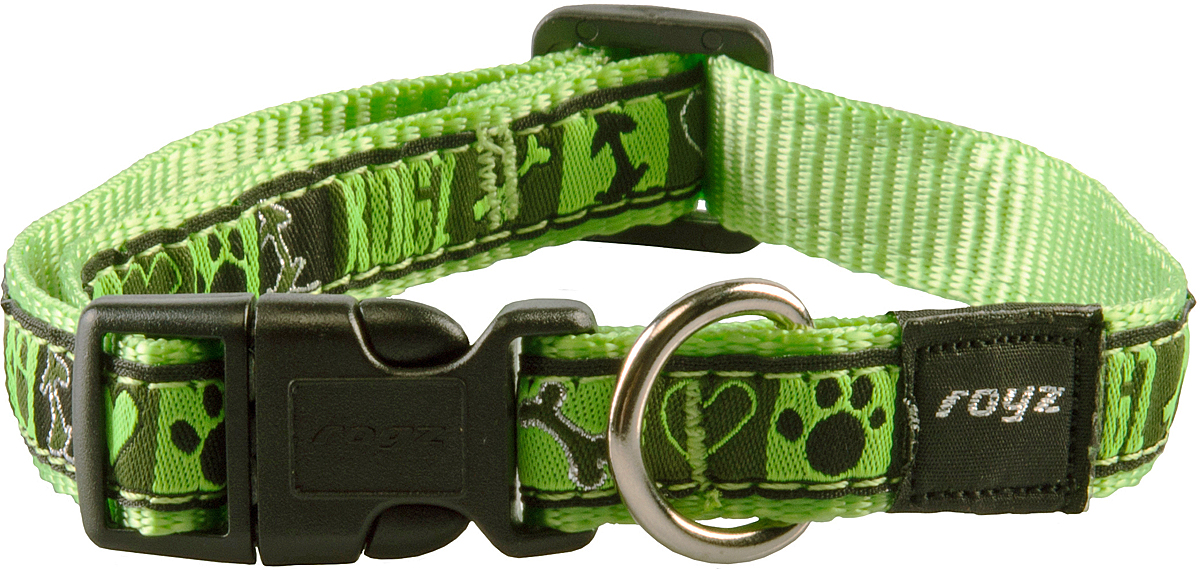 Ошейник для собак Rogz Fancy Dress, цвет: зеленый, ширина 1,6 смHB12CFОшейник для собак Rogz Fancy Dress имеет необычный дизайн. Широкая гамма потрясающе красивых орнаментов на прочной тесьме поверх нейлоновой ленты украсит вашего питомца. Специальная конструкция пряжки Rog Loc - очень крепкая (система Fort Knox). Замок может быть расстегнут только рукой человека. Технология распределения нагрузки позволяет снизить нагрузку на пряжки, изготовленные из титанового пластика, с помощью правильного и разумного расположения грузовых колец.Особые контурные пластиковые компоненты. Специальная округлая форма конструкции позволяет ошейнику комфортно облегать шею собаки. Выполненные по заказу литые кольца имеют хромирование, нанесенное гальваническим способом, что позволяет избежать коррозии и потускнения изделия.